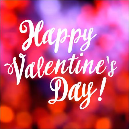 happy valentine: Valentines day vintage lettering bokeh background-model for design of gift packs, patterns fabric, wallpaper, web sites, etc.