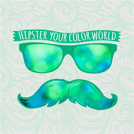 pick light: Retro hipster glasses lifestyle-model for design of gift packs, patterns fabric, wallpaper, web sites, etc. Illustration