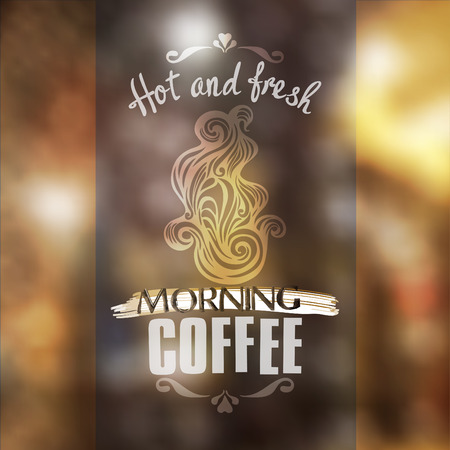 Hot fresh coffee showcase mockup-model for design of gift packs, patterns fabric, wallpaper, web sites, etc. Vector