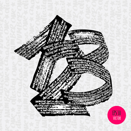 written text: Alphabet numbers digital style hand-drawn doodle sketch. Vector illustration. Illustration
