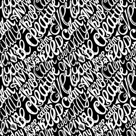 Keep calm creativity motivation-seamless hand drawn pattern, doodles letters Vector