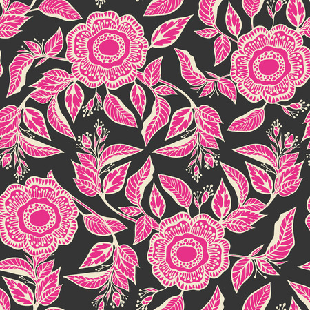 color swatch: Seamless floral pattern-delicate interlacing branches of flowers and buds,model for design of gift packs, patterns fabric, wallpaper, web sites, etc.