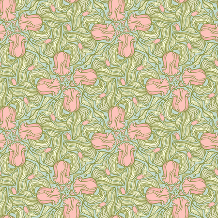 gift packs: Floral tulip seamless pattern-model for design of gift packs, patterns fabric, wallpaper, web sites, etc. Illustration