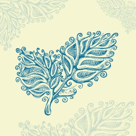 pencil drawn: Doodle ink leaf pattern , model for design of gift packs, patterns fabric, wallpaper, web sites, etc. Illustration