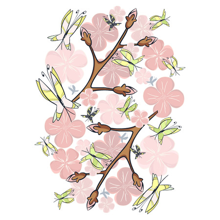 flit: Pink blossom and butterflies-gentle atmosphere of a spring morning