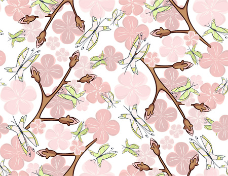 flit: Seamless pink blossom and butterflies-gentle atmosphere of a spring morning