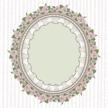 provence: Sentimental oval frame in the Provence style with patterned roses and lace