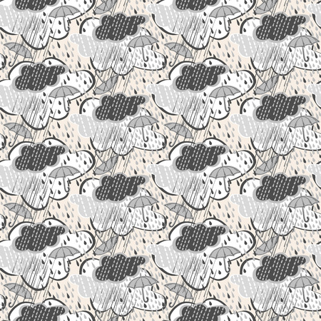 damp: Seamless pattern of rain-drops and jets and umbrella Illustration