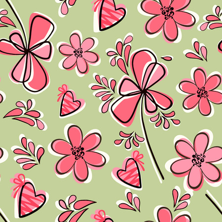 flora  vector: Seamless floral pattern-gentle atmosphere of a spring mood and love