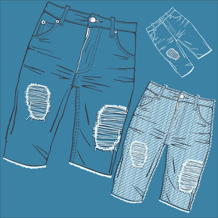 jeans pocket: Shabby jeans-fashionable youth denim clothing with holes and rubbing Illustration
