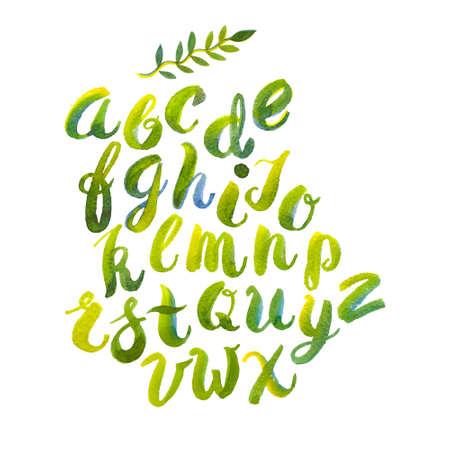 alphabet graffiti: Mano acquerello disegnato alfabeto con pennello-sfumature e macchie di foglie e fiori di primavera
