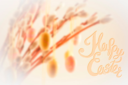 blosom: Happy Easter lettering with bokeh willow tree and decorations
