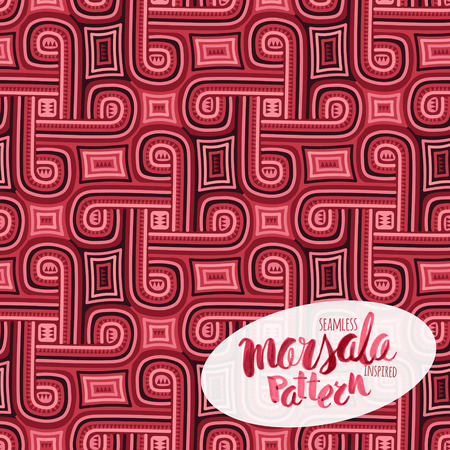 bordo: Marsala inspired seamless trendy pattern,fashionable sophisticated shade. Hand-drawn removeable lettering inscription Illustration