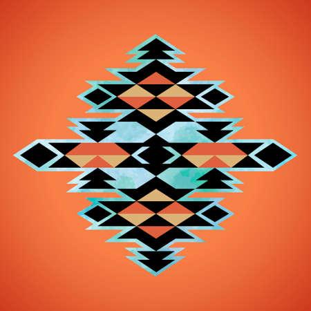 indios americanos: Modelo de la inspiración textil azteca Navajo. Arte del nativo americano tribal india mano dibujada. Vectores