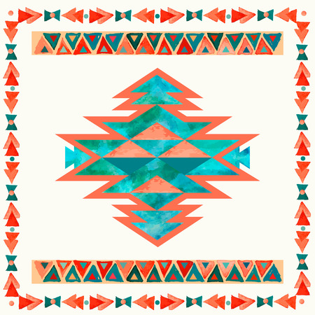 Navajo aztec textile inspiration pattern. Native american indian tribal  hand drawn art.