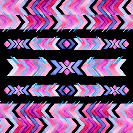 american culture: Navajo aztec textile inspiration watercolor pattern. Native american indian tribal  hand drawn art. Illustration