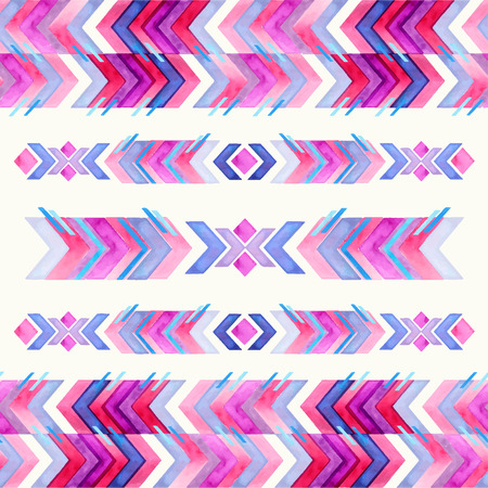 Navajo aztec textile inspiration watercolor pattern. Native american indian tribal  hand drawn art. Illustration