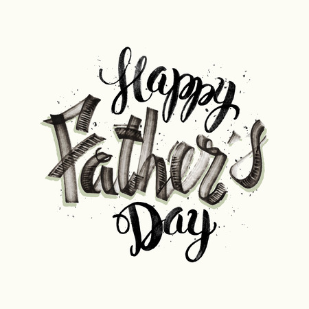 father's day: Calligraphic hand drawn watercolor lettering vector poster.Happy father`s day inscription phrase, inspiration for poster, banner, postcard, motivator or part of your design. Illustration