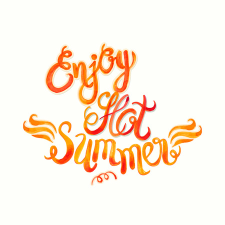 sumer: Watercolor vector lettering enjoy hot summer-fire flame style pattern-model for design of gift packs, patterns fabric, wallpaper, web sites, etc. Illustration