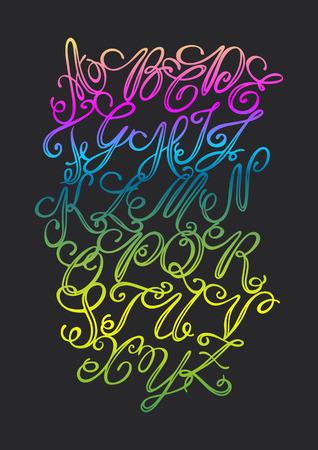 calligraphy pen: Vector dibujado a mano alfabeto elegante. Letras delicadas escritas con una pluma de caligraf�a, la inspiraci�n para el cartel, pancarta, postal, motivador o parte de su dise�o.
