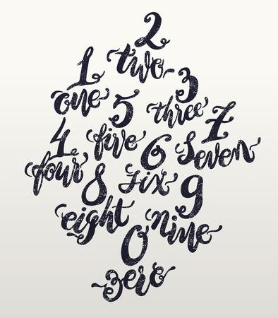 nombres: Numéros alphabet, esquisse dessinée à la main doodle. Vector illustration. Illustration
