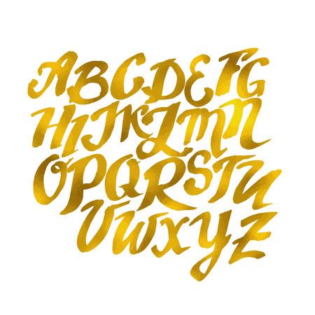 Gouden Hand getrokken Alphabet Pattern. Vector illustratie Schets van de krabbel Stock Illustratie