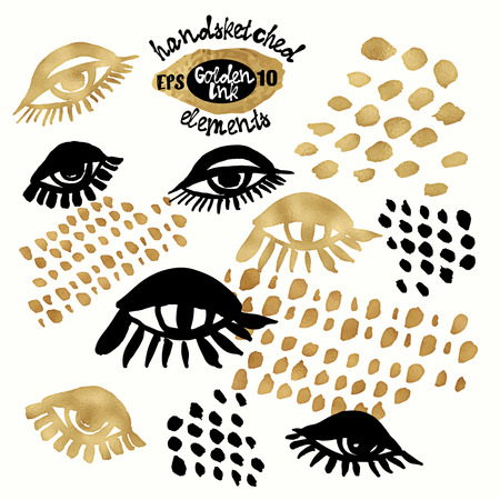 splatter paint: Set of trendy blog background design elementswith handdrawn gold and black ink. Vector Eps10 illustration doodle sketch