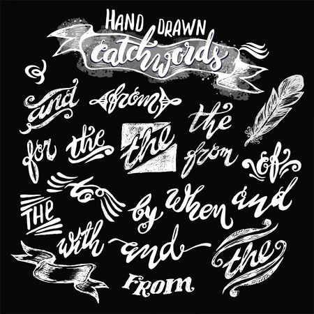 hand lettered: Hand lettered catchwords, drawn with ink and watercolor on grunge background Illustration