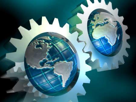 Earth globes in mechanism
