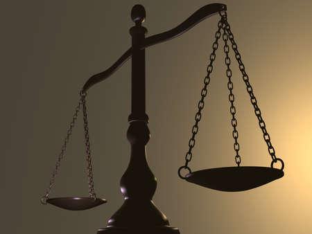balanza justicia: Escala de lat�n, instrumento de medici�n de color crema de fondo - 3d hacer