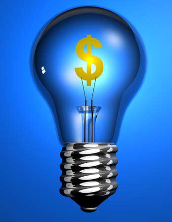 Conceptuel ampoule avec le signe dollar sur fond bleu - 3D render Banque d'images
