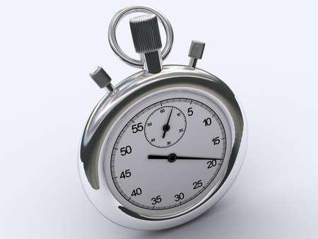 chromed: An analog chromed chronometer on white background - 3d render