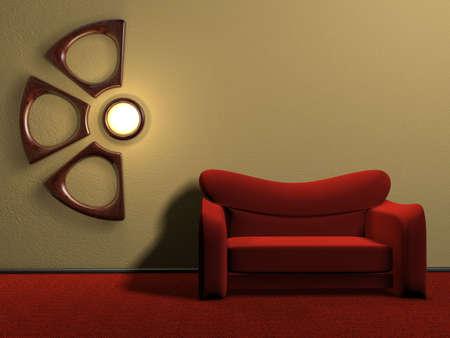 Un canap� rouge et un support de bois - design - 3d rendre  Banque d'images