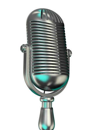chromed: An old chromed microphone on white background - 3d render