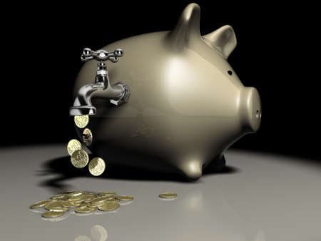 cents: Euro cents currency flowing out of a faucet on the piggy bank - 3d render Stock Photo
