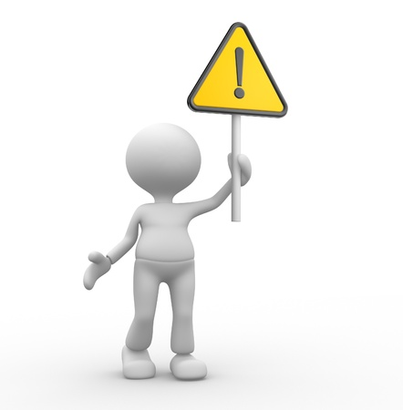 3d people - man, person with warning sign Stock Photo - 20489821