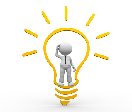 metal light bulb icon: 3d people - man, person with a light bulb. Idea concept Stock Photo