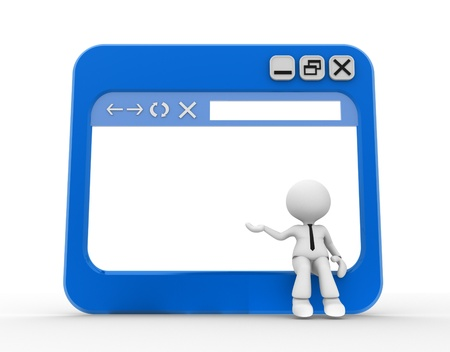3d people - man, people with a browser window. Stock Photo - 20489871