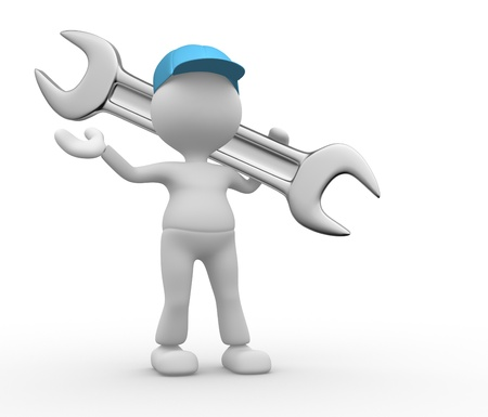 3d people - man, person with a wrench. Stock Photo - 20489836