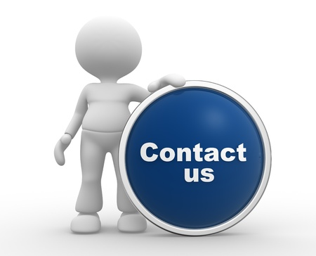 contactus: 3d people - man, person with button  Contact us
