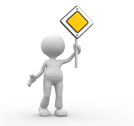 3d people - man, person with a priority road sign Stock Photo - 20489831