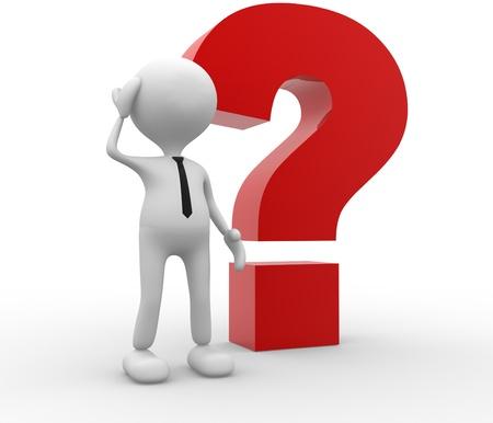 preguntando: 3d gente - hombre, persona con un gran signo de interrogación. Confundido.
