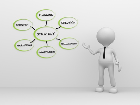3d people - man, person pointer image of strategy.  photo