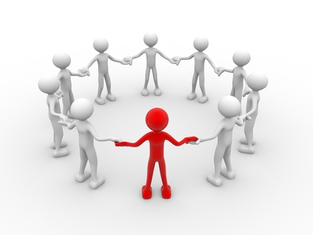 3d circle: 3d people - human character, people in circle. Leadership and team