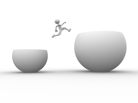 3d people - man, person jumping over obstacle.