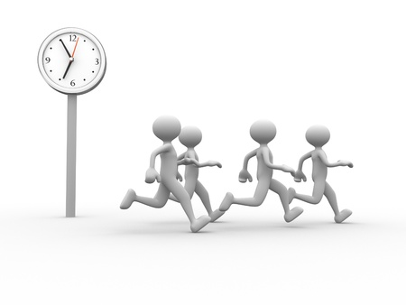 time out: 3d people - man, person running and a clock. Time is up.