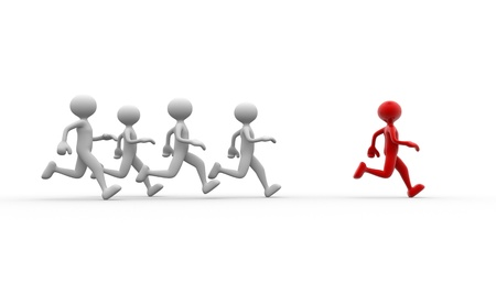 3d people - men, person running. Jogging