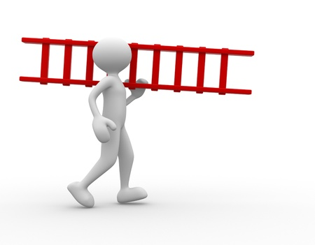 ladder safety: 3d people - man, person carrying ladder.