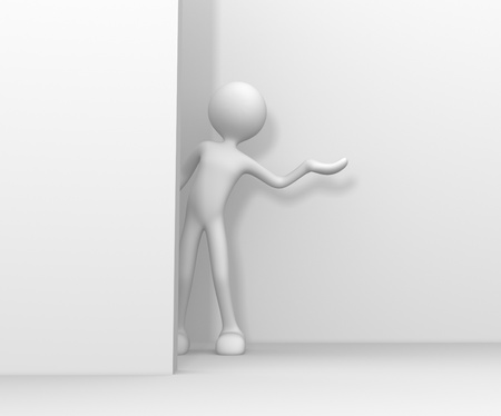 3d people - man, person pointing a blank board  photo