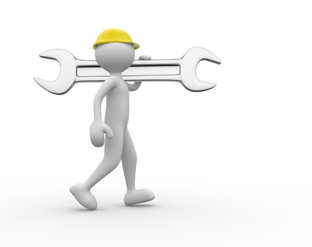 3d people - man, person with a wrench Stock Photo - 20569093